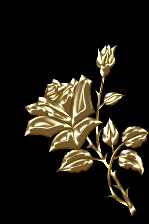 jeweller: gold rose with bud on blak background Stock Photo