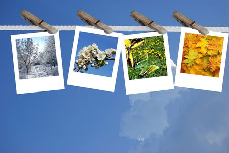 exemplar: collage  from four timeses of the year Stock Photo