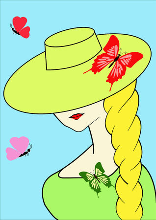 girl in hat with butterfly Ilustrace