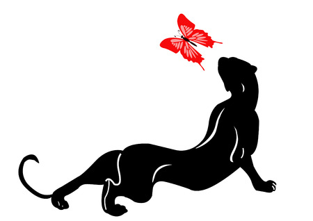 the panther: blackenning panther plays with butterfly Illustration