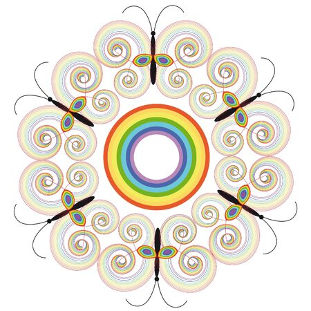 butterfly rainbow from colour spirals