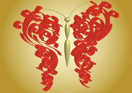 volume butterfly on gold background Ilustrace