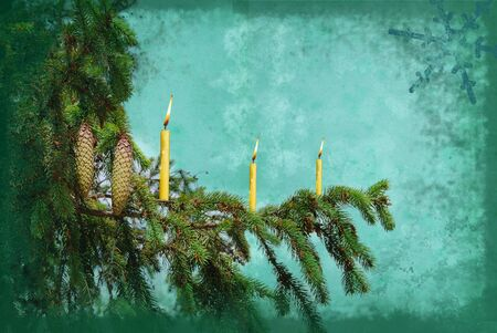 branch fir tree with candle grunge