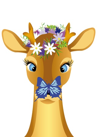 head child deer with butterfly on nose Stock Vector - 9922456