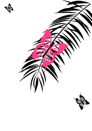 pink  butterfly sits on branch of the palm discolored
