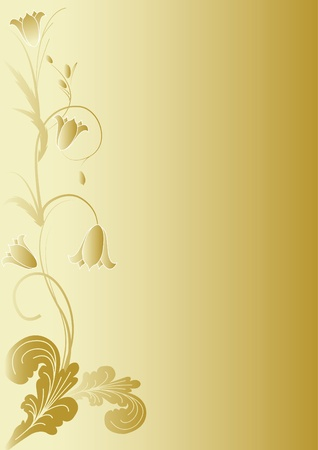 gold flowers  on gold background Ilustrace