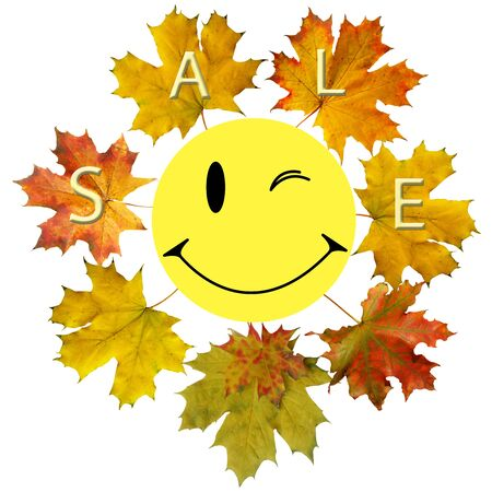 smile and maple leaf is autumn symbol