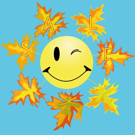 recollection: smile and maple leaf is autumn symbol