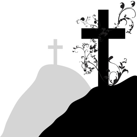 black christian cross and plant on white background
