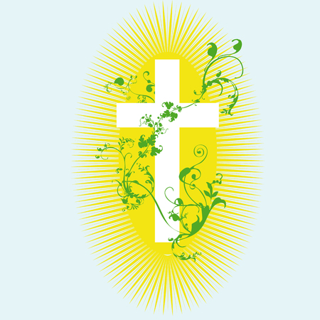 christian cross and green plant on blue background