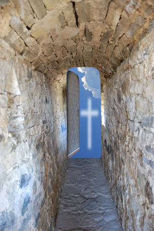 door in long corridor is open skyward Reklamní fotografie - 72141886