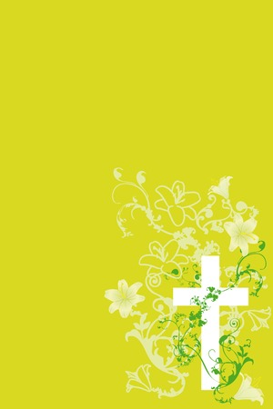 christian cross and plant  and lily on green background