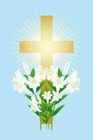 Pasen witte lelie en kruis