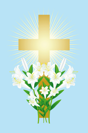 easter white lily and cross Illustration