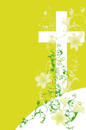 christian cross and plant   on green background