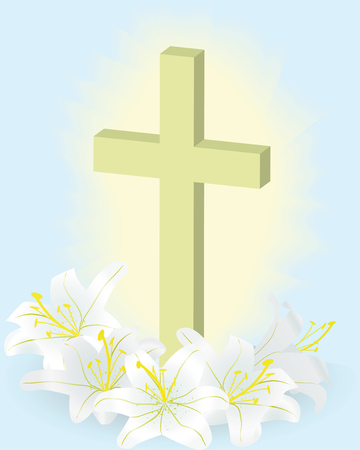 easter white lily and cross Ilustrace