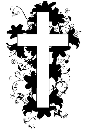 christian cross and plant   on white background