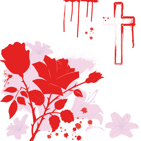lily,rose and christian cross on white background Ilustrace
