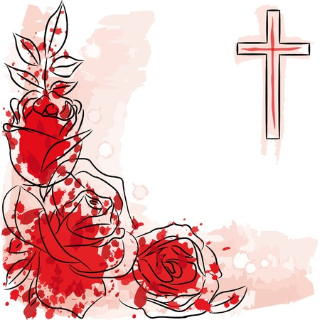 rose and christian cross on white background