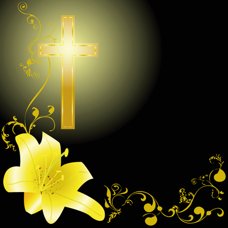 yellow lili and christian cross on black background Reklamní fotografie - 75348921