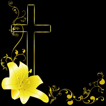 yellow lili and christian cross on black background Reklamní fotografie - 75348922