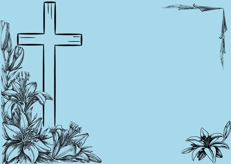 christian cross and  lily on blue background Illustration