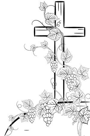 Christliches Kreuz und Traube auf weißem Hintergrund Standard-Bild - 75348925