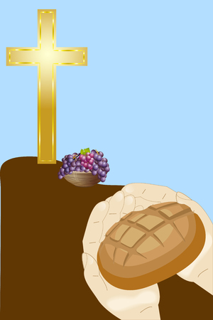 christian cross,bread in heands and grape   on blue background