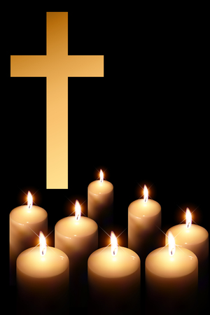 easter candle is burning: cross of burning candle on black background Illustration