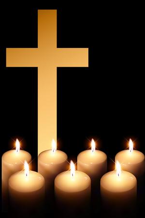 cross of burning candle on black background Illustration