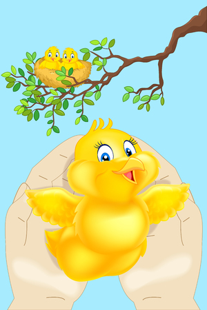 nestling has fallen out of jack in hand Stock Vector - 75349083