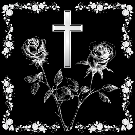 silver christening cross with rose on black background