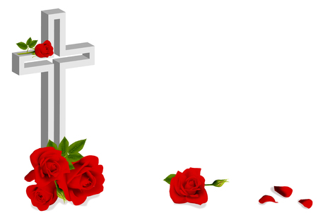 red roses and white christian cross on white background Illustration
