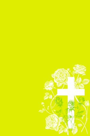 christian cross and rose  on green background Stock Vector - 75349088