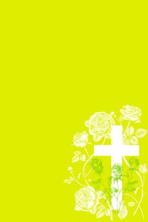 christian cross and rose  on green background Reklamní fotografie - 75349088
