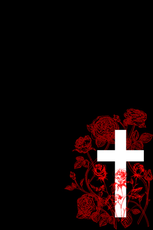 christian cross and rose  on black background