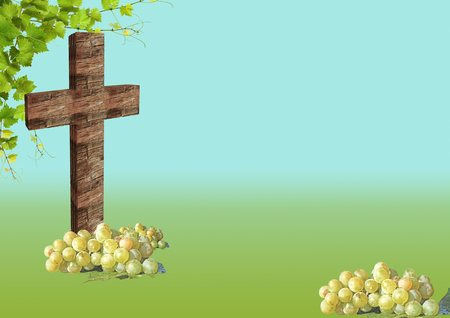 christian cross and grape   on blue background