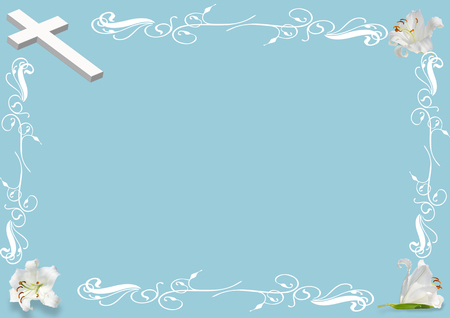 easter  lily and cross on blue background Stock Photo - 75644184