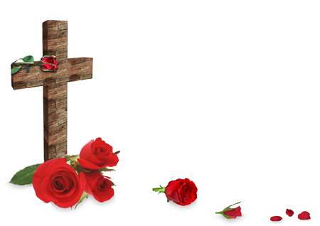 red rose and christian wooden cross on white background Stock Photo