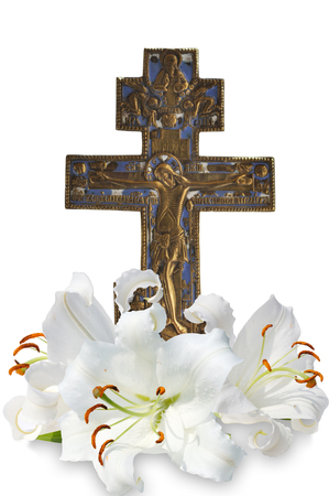 christian cross and three white lily on white background Reklamní fotografie - 75643268