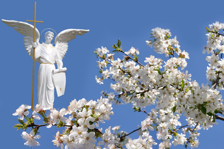 white angel and white flowers cherry on sky background