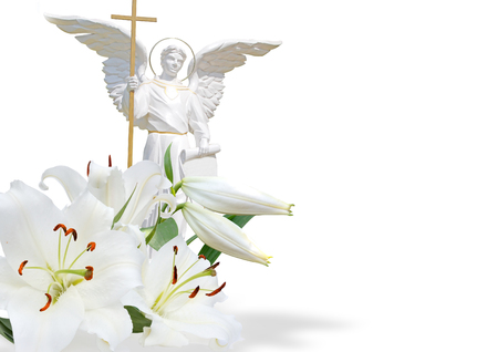 white angel and white lily on white background