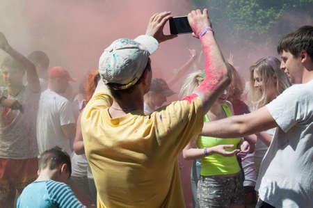 Ukraine, Donetsk region, Zugres may 27, 2018: holiday of colors in Zuevo landscape Park