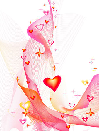 Valentines day,  hearts, place for text Illustration