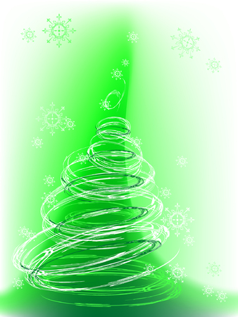 christmas tree with snowflakes, vector, mesh gradient Stock Vector - 3521987
