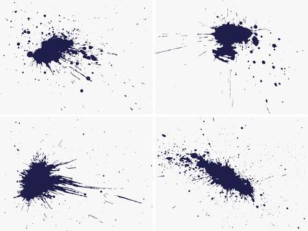 set of four vector inkblot, hand drawn grunge design elements Stock Vector - 3999931