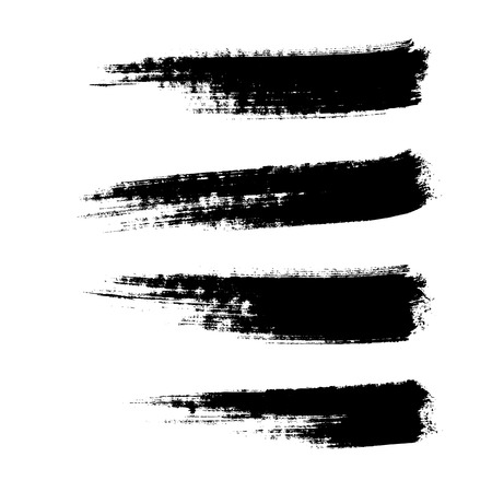 four hand drawn paintbrushes, vector  without gradient Vector
