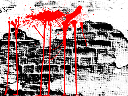 poster on wall: grunge wall, halftone effect, vector without gradient