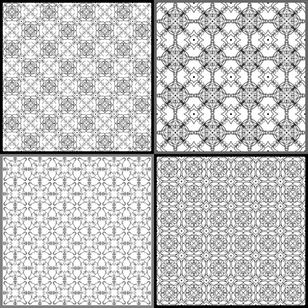 arabesque wallpaper: set of four seamless pattern, vector, geometric  ornament Illustration