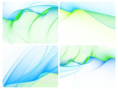 zestaw czterech wizytówki, wektor, stylizowane falami, miejsce do tekstu
